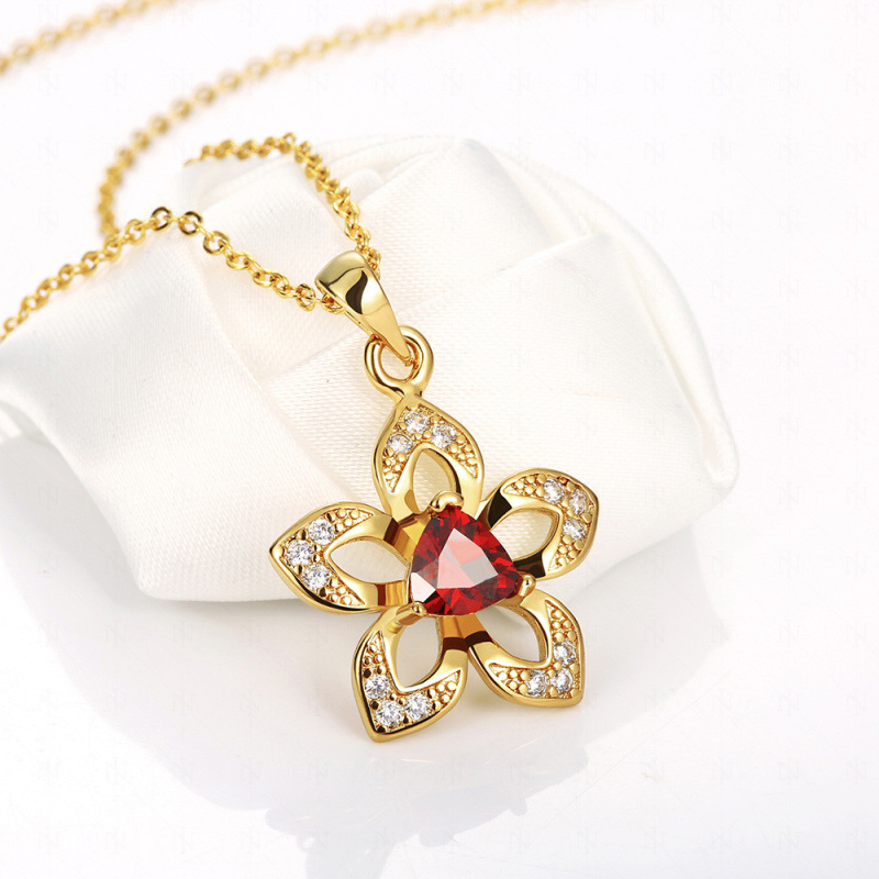 Gold Plated Red Flower Pendant Necklaces for Women/Girls Jewelry