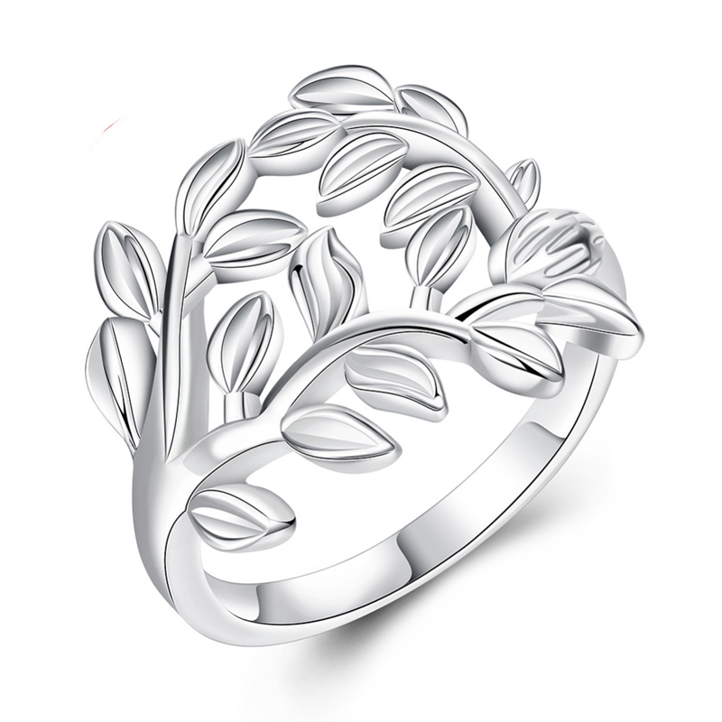 Plant Flower Ring Trendy 925 Sterling Silver Gift For Women Dress Accessories