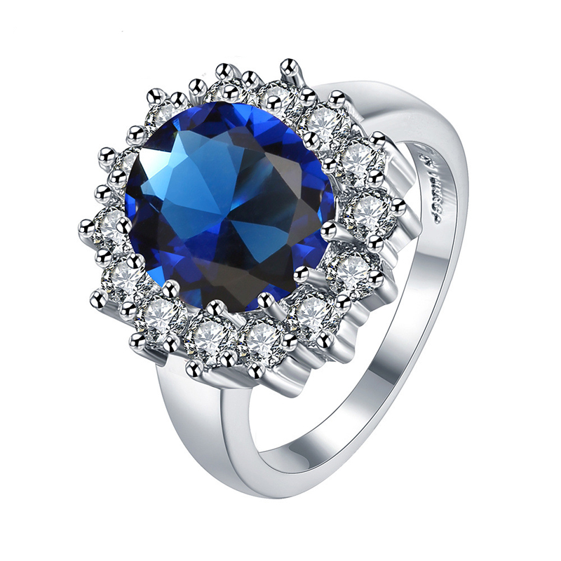 Blue Bague Brincos Rings Silver Jewelry Women Ring CZ Diamond-Jewelry