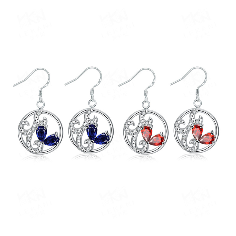Blue/Red Crystal Round 925 Sterling Silver Earring for Women
