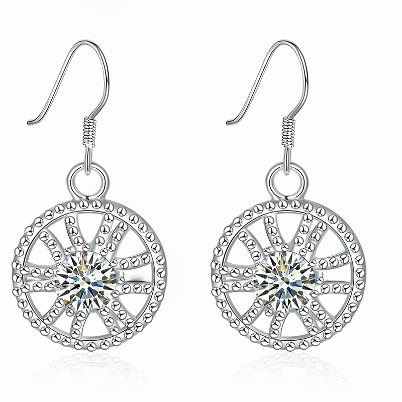 Fashion Fine Jewelry Charms Silver Plated Crystal Circular Hollow Wheel Earrings