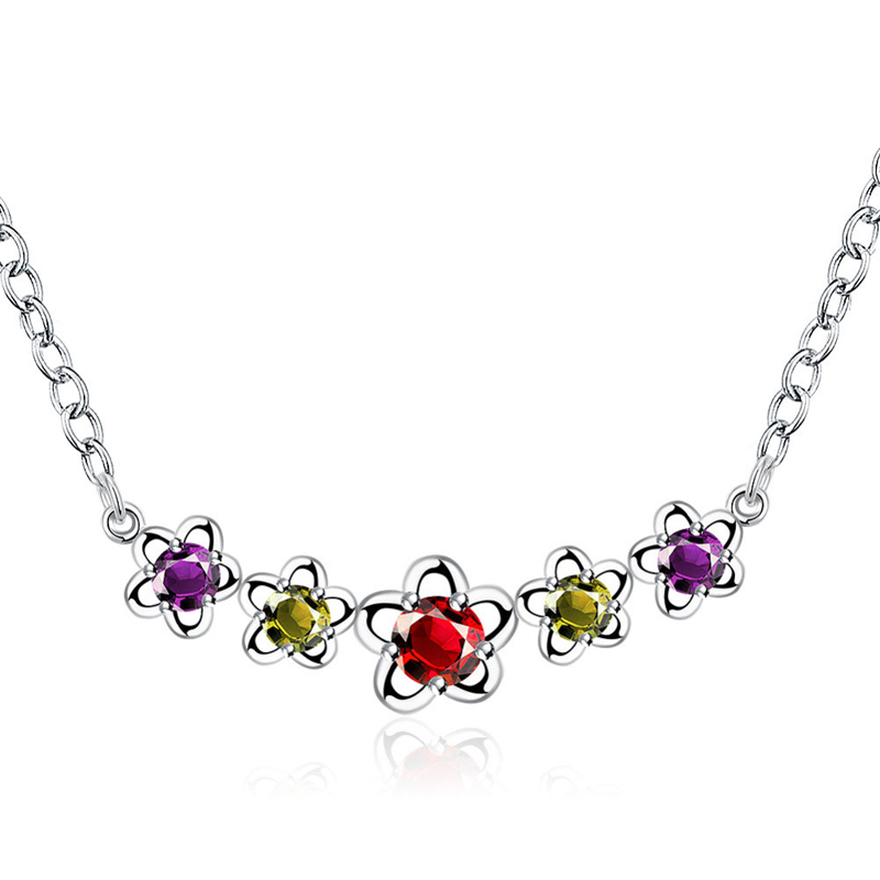 Hot Sale Silver Plated Chain with Hollow Stars & Colorful Crystal Pendant Necklace for Women
