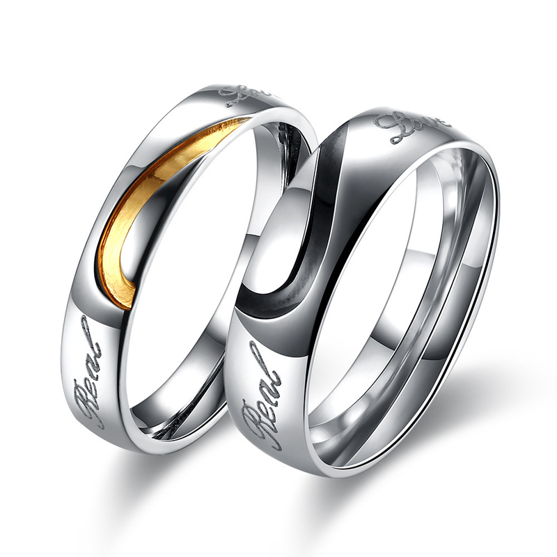 Classic Gold/Black Color Heart Shaped Stainless Steel Wedding Rings For Couples TGR125
