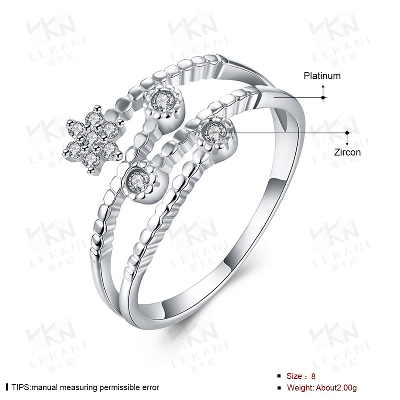 925 Sterling Silver Jewelry Crystal Star Open Rings for Women Lover SVR004
