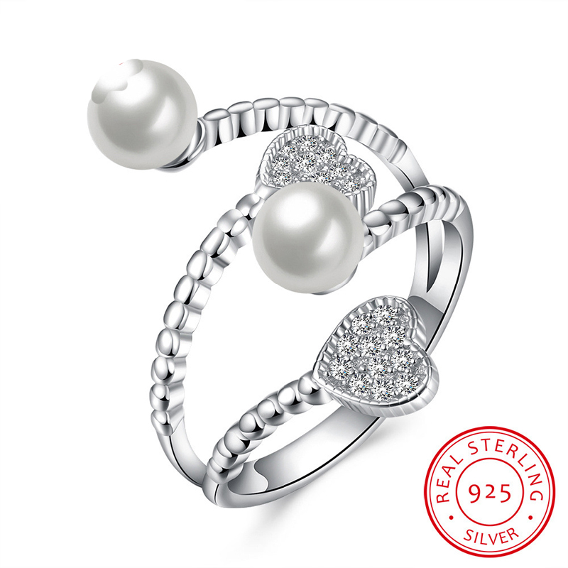 925 Sterling Silver Rings For Women Pearls Jewelry Heart Open Ring For Ladies Love SVR078