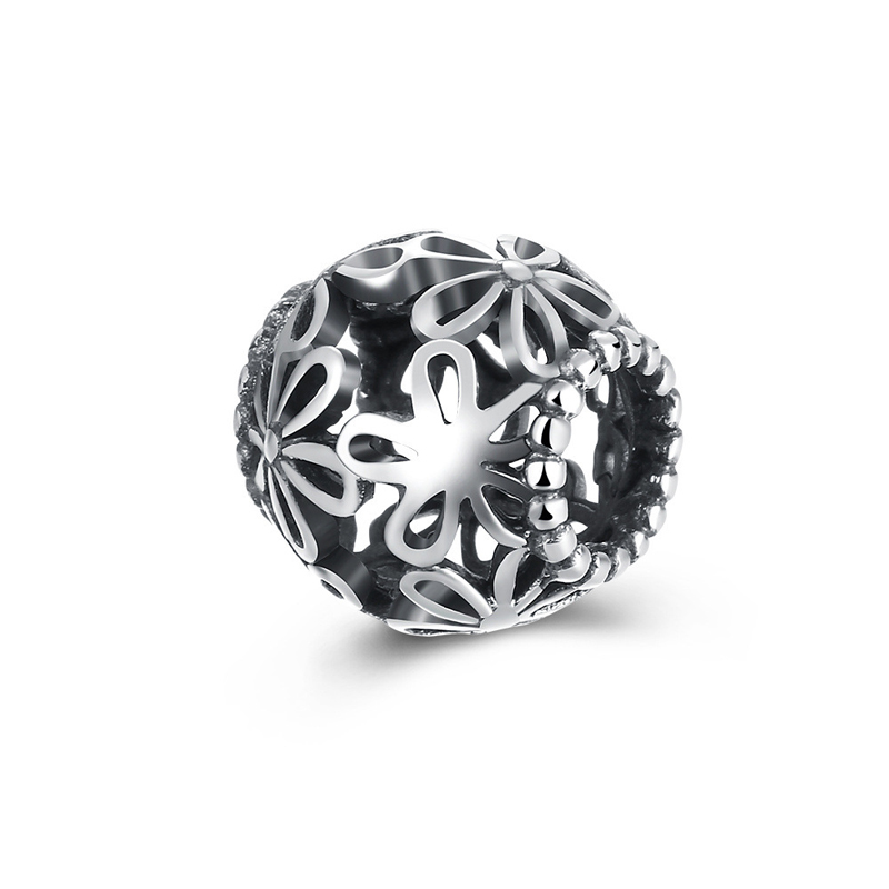 925 Sterling Silver Hollow Flower Charms Bead Round Fit Pandora Bracelet DIY Jewelry Accessories