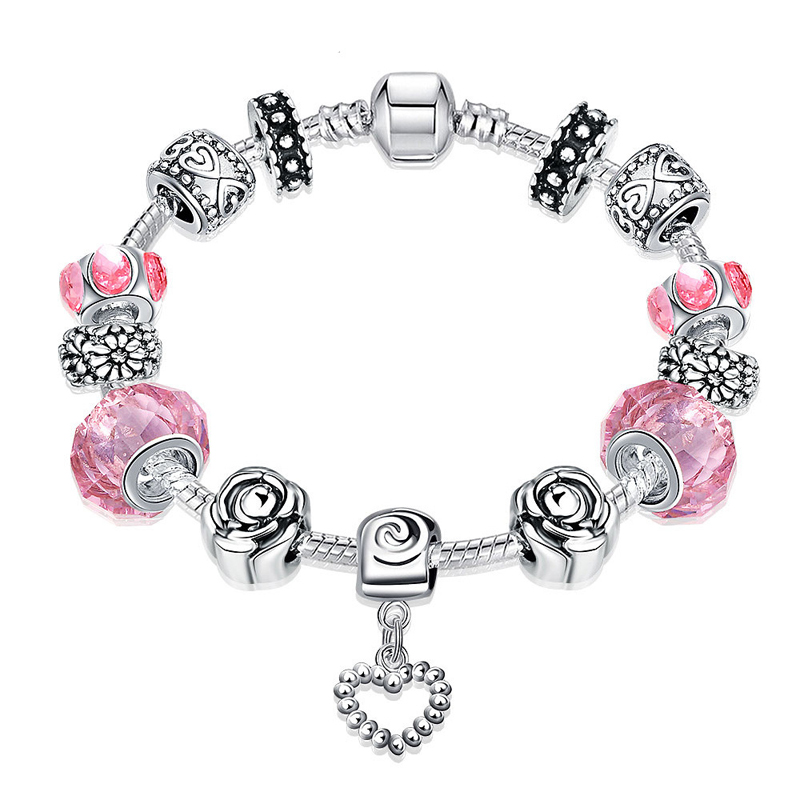Antique 925 Silver Charm Fit Pan Bangle & Bracelet with Love and Flower Crystal Ball for Women