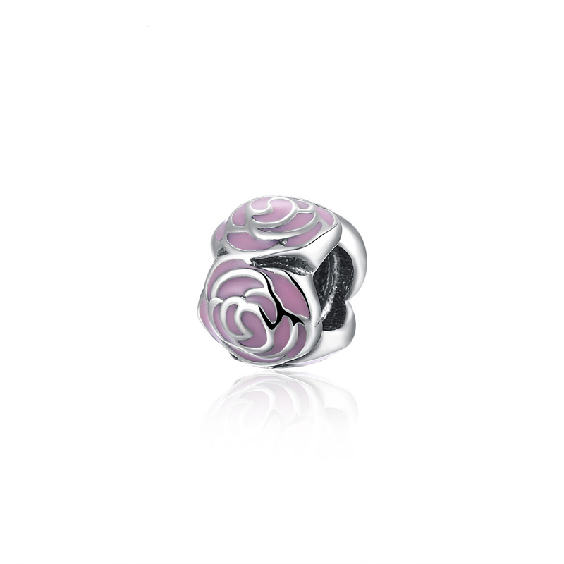 925 Sterling Silver Gold Polish Charms Bead Round Fit Pandora Bracelet DIY Jewelry Accessories