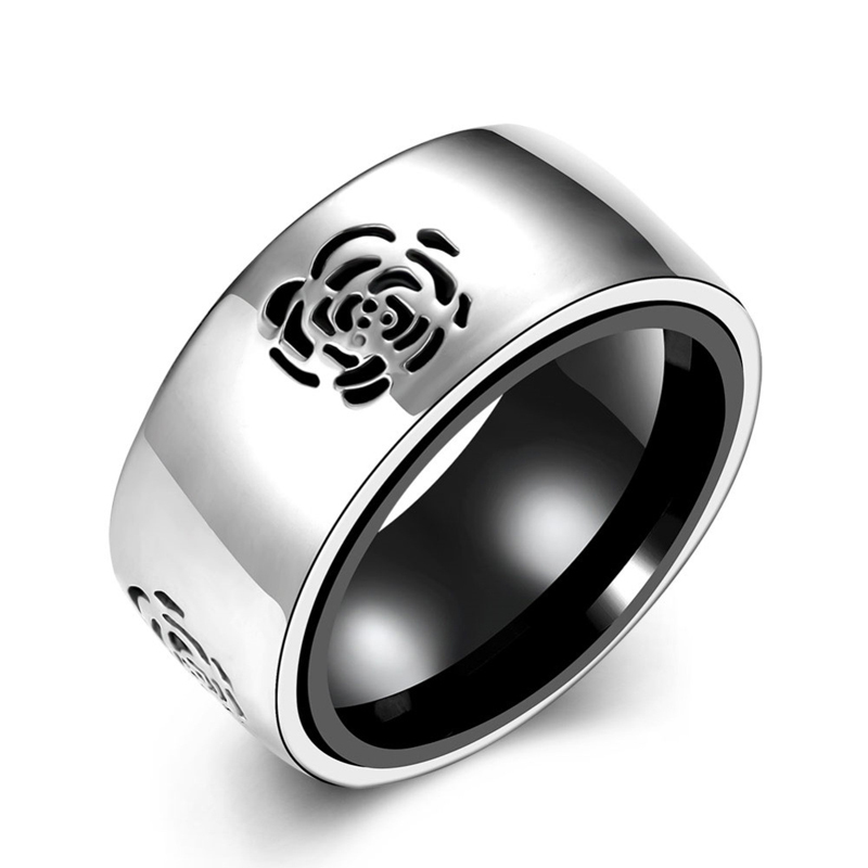 10mm Wide Silver Hollowed Rose Rings For Women Men 316L Stainless Steel Ring R092