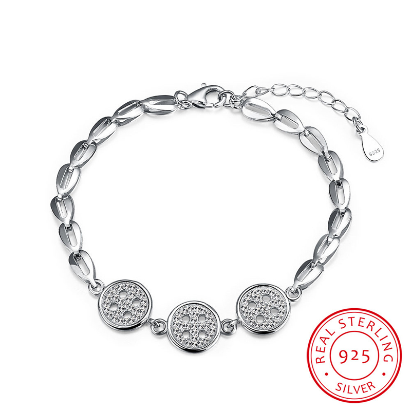 Trendy Button with Pave Setting CZ Stone Charm Bracelets Authentic 925 Sterling Silver Rolo Chain Bracelets SVH047
