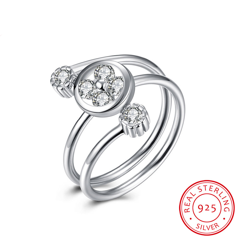 Clover With CZ Open-End Ring Sterling-Silver Woman Jewelry Wholesale Ring SVR027