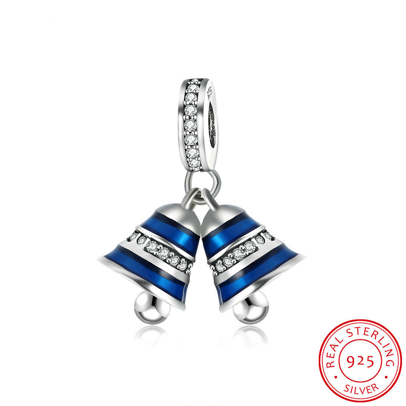 Rhinestone & Blue Enamel Christmas Bells Charms Fits Pandora DIY Bracelets Anthentic 925 Silver Crystal Bead for Jewelry Maki