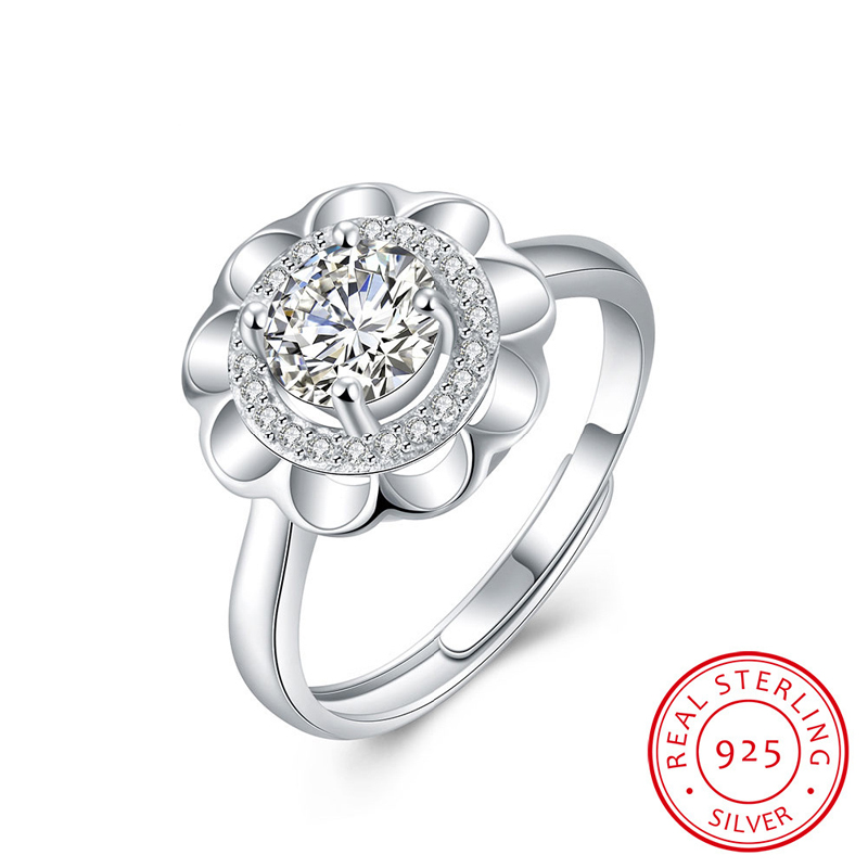 Blooming Dahlia Crystal Rings For Women 925-Sterling-Silver Wedding Rings SVR002