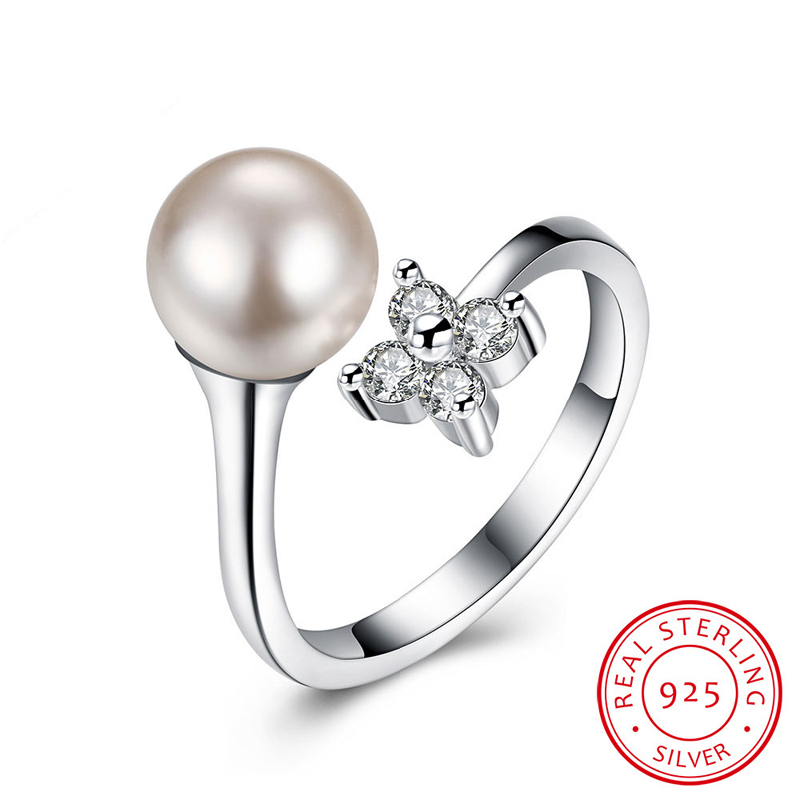 Clover & Pearl With CZ Open-End Ring Sterling-Silver Woman Jewelry Wholesale Ring SVR038