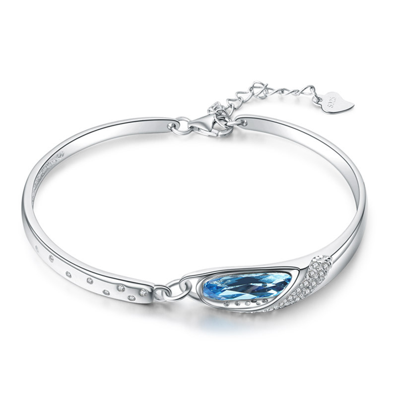High Quality 925 Sterling Silver Ms. Bracelet Round Shaped Blue Crystal with Diamonds Fashion Jewelry H107