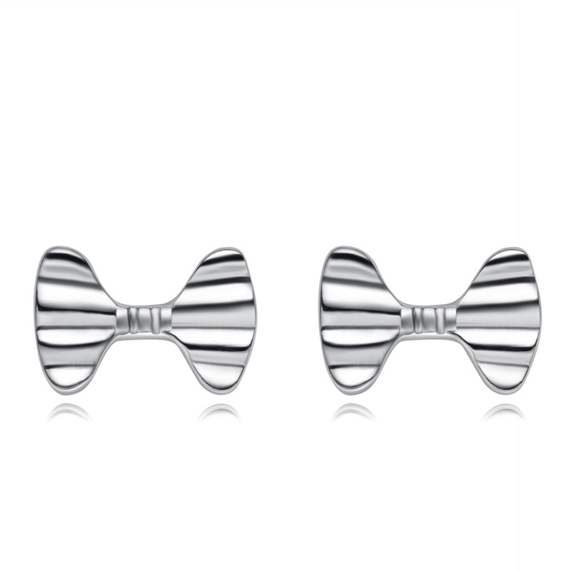 925 Sterling Silver Bow-knot Earrings Geometric Fashion Earrings B082
