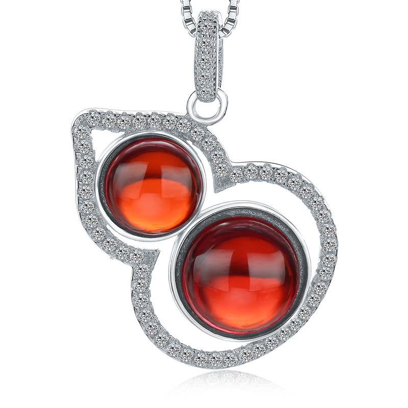 925 Sterling Silver Red Pomegranate Geometric Beautiful Pendant for Women W144