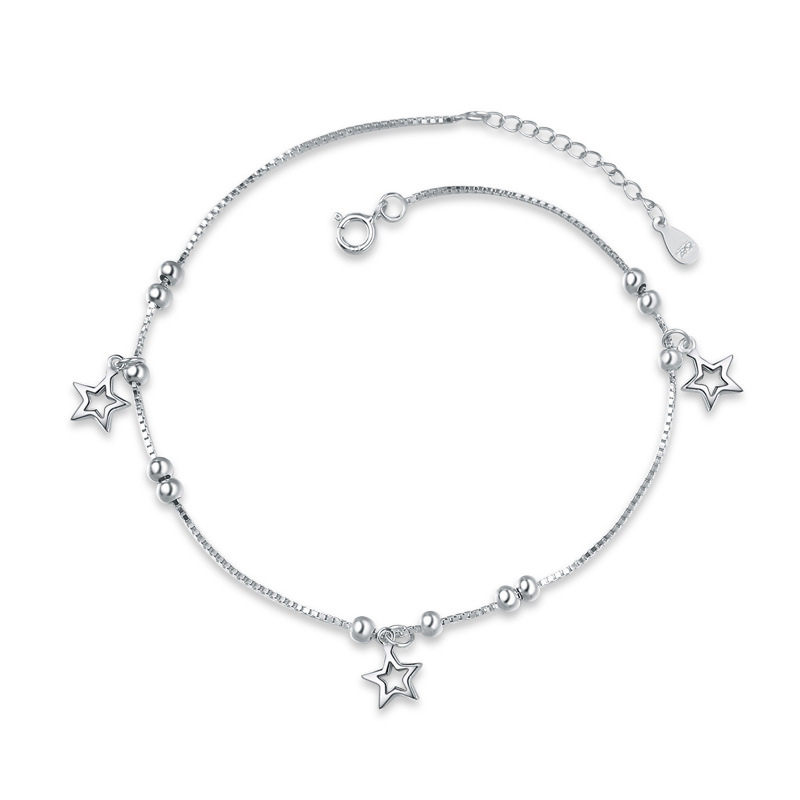 925 Sterling Silver Five-pointed Star Fashion Anklets for Women F018