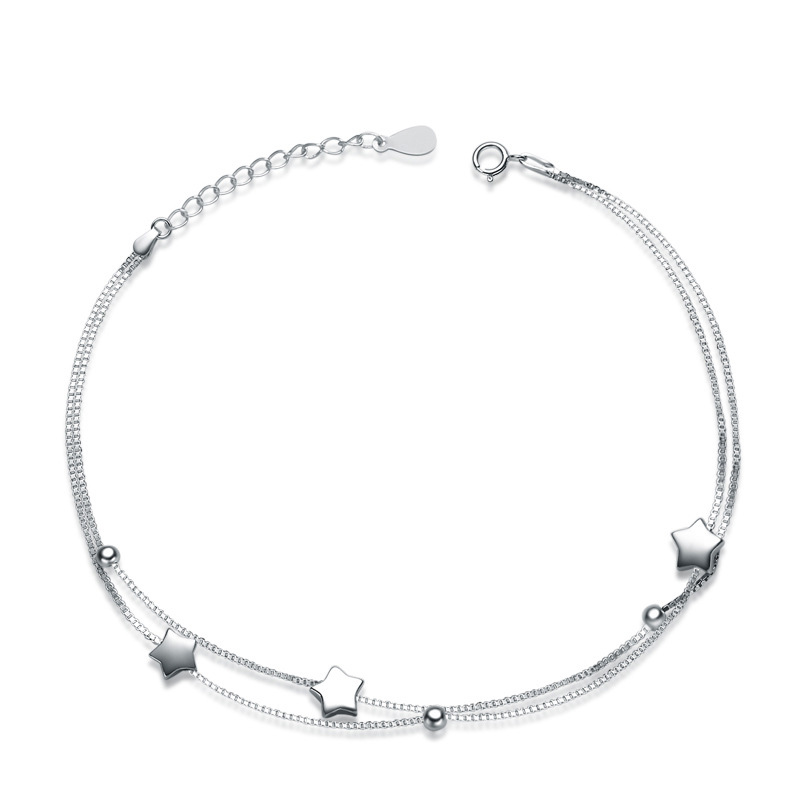925 Sterling Silver Five-pointed Star Fashion Anklets for Women F025