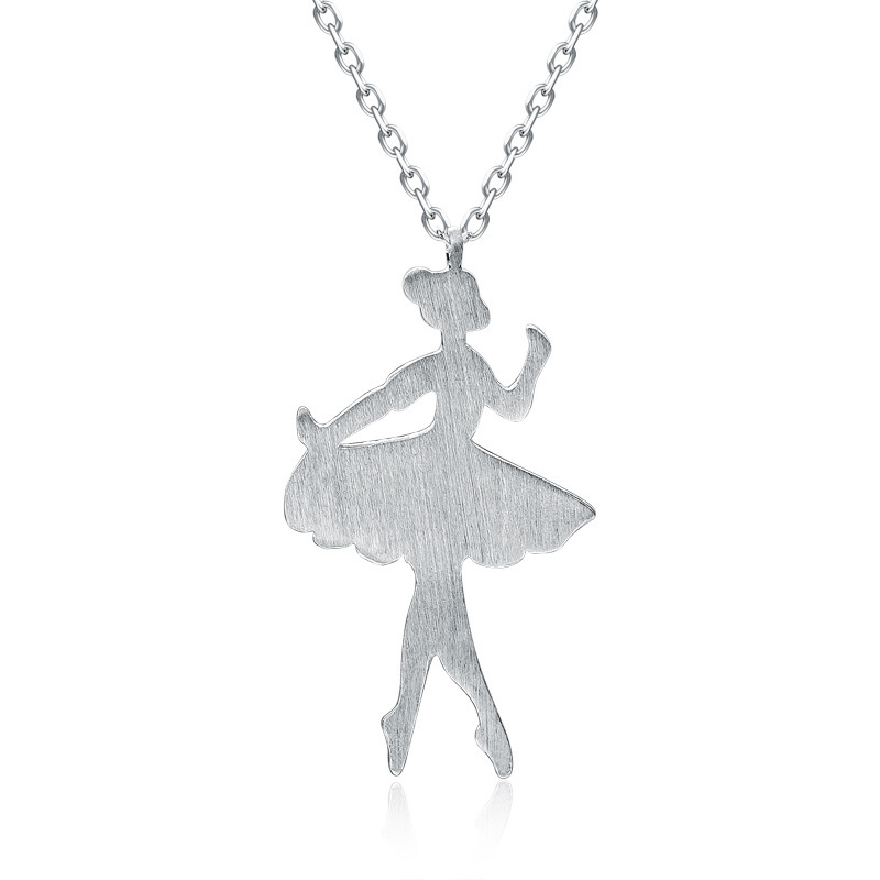 925 Sterling Silver Ballet Doll Beautiful Creative Pendant for Women A244