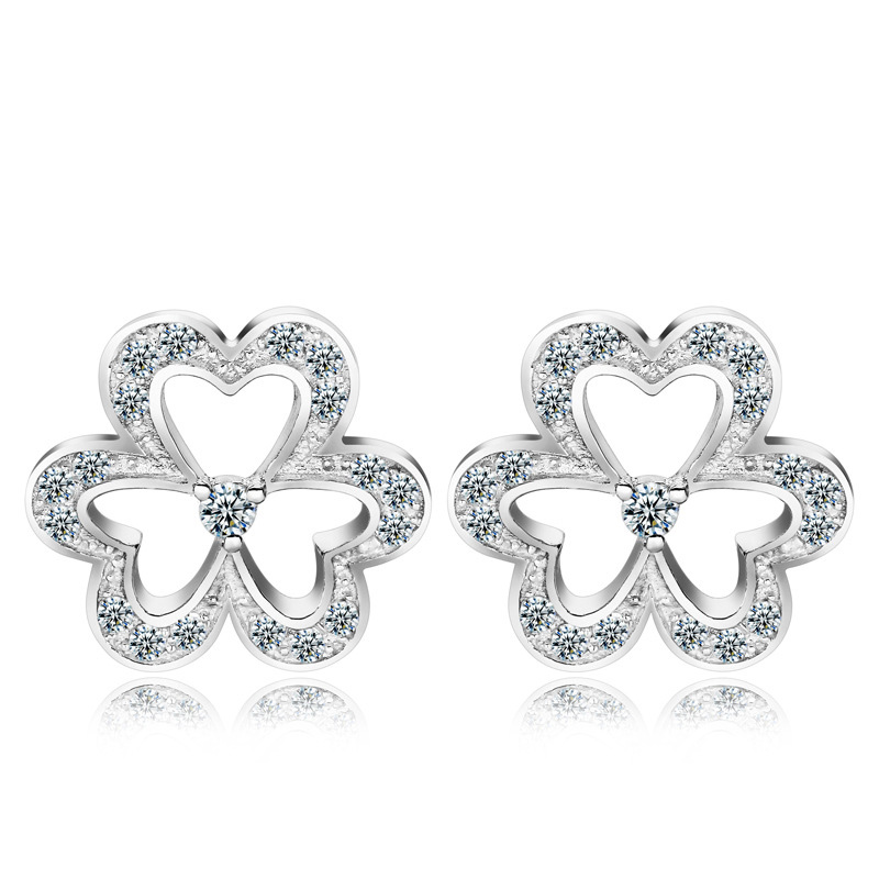 925 Sterling Silver Clover Skeleton Earrings Lovely Earrings WE024