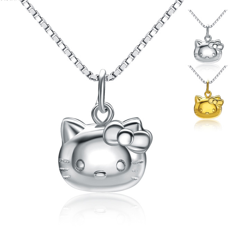 Hello Kitty Necklace 925 Sterling Silver Pendant for Women A227