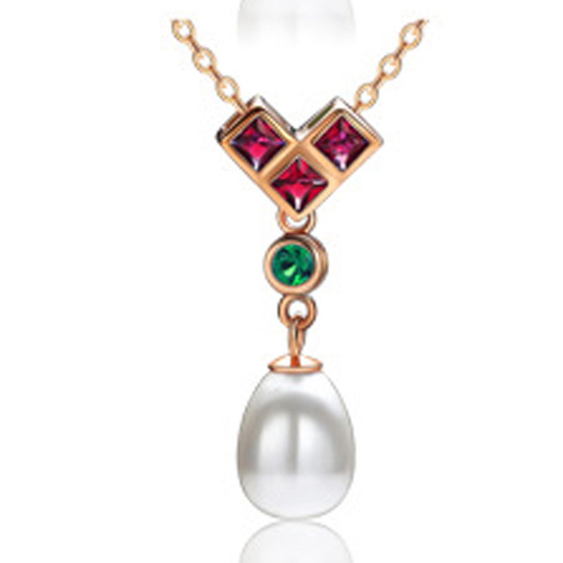 Fashion Pearl Necklace 925 Sterling Silver Pendant for Women A225