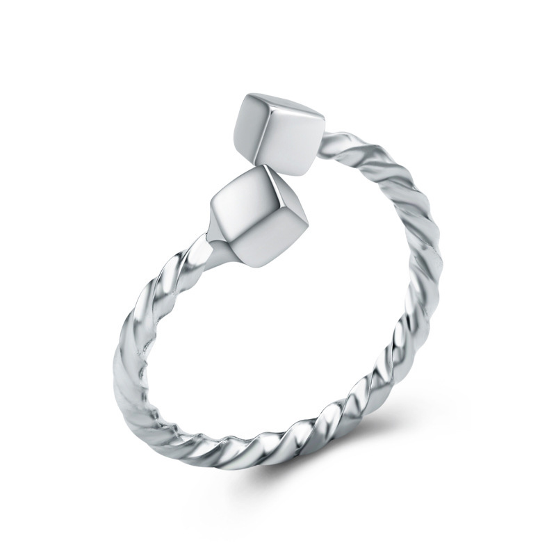 Fashion Jewelry Ring 925 Sterling Silver Geometric Irregular Opening Ring for Women E338