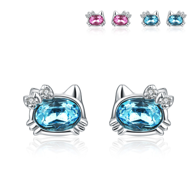 Cute Hello Kitty Earrings 925 Sterling Silver with Crystal for Women B457