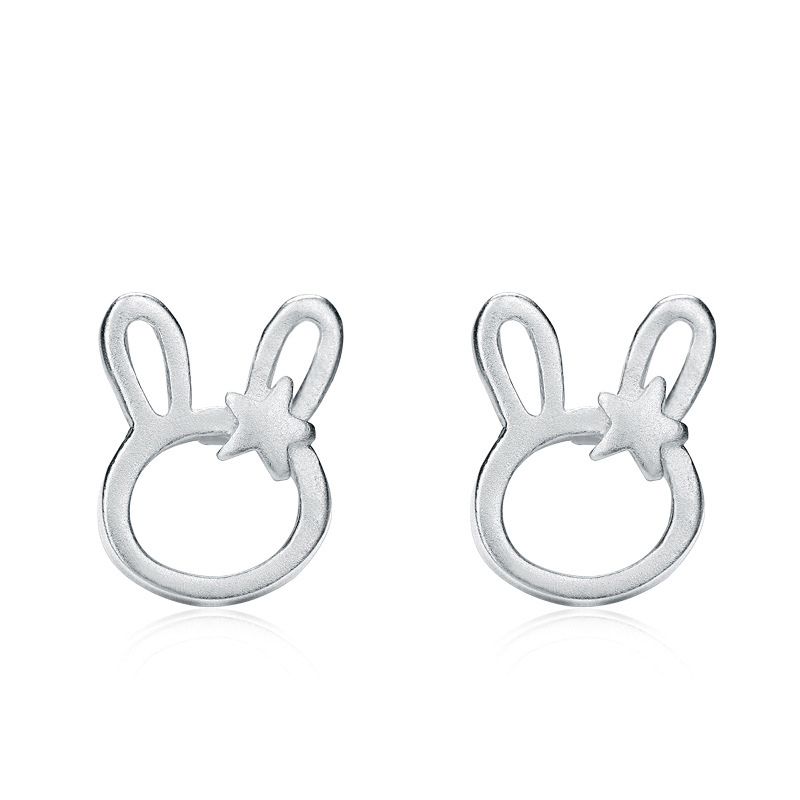 Fashion Rabbit Ear Studs 925 Sterling Silver Earrings for Women B396