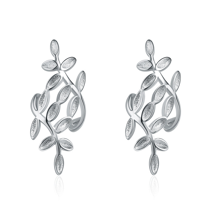 Fashion Simple Leaves Ear Studs 925 Sterling Silver Earrings for Women C027