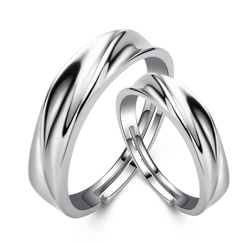 Couple Rings 925 Sterling Silver Adjustable Engagement Rings Wedding Gifts I058