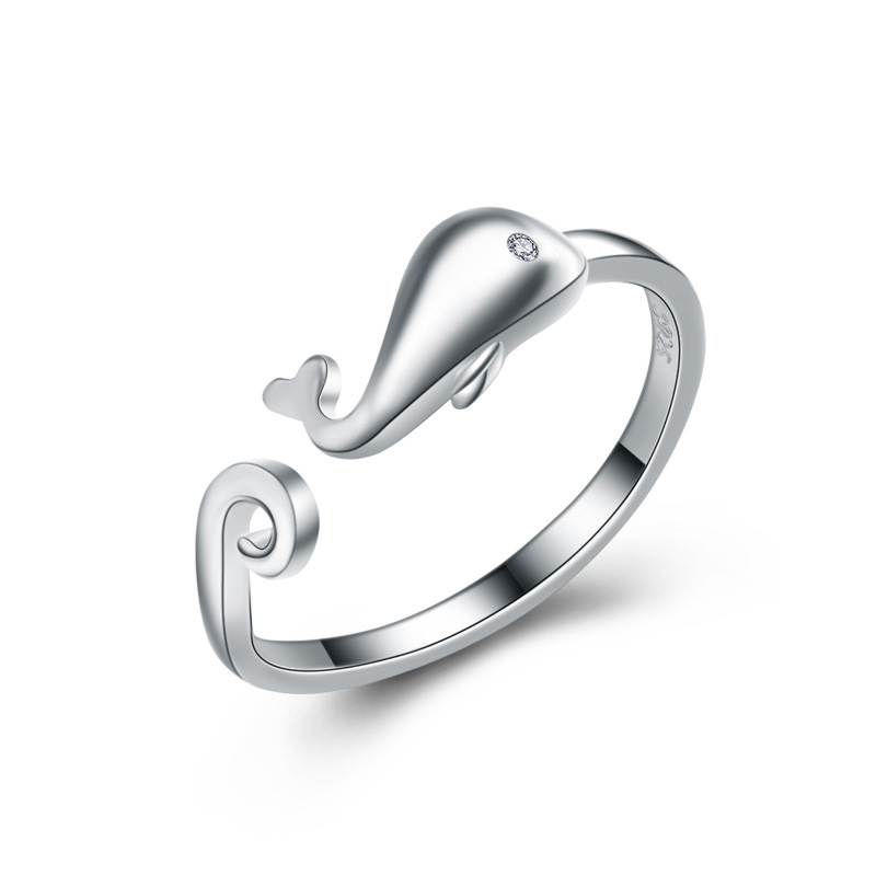 Fashion Cute Little Whale Ring 925 Sterling Silver Adjustable Rings for Women E478