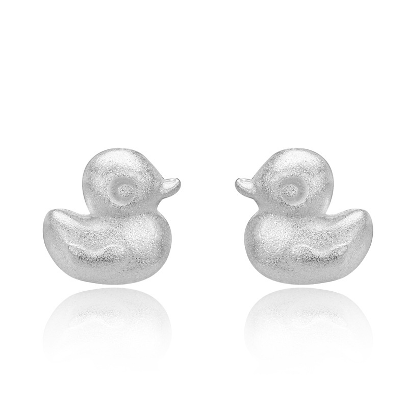 Cute Little Duck Earrings 925 Sterling Silver Geometry Earrings for Women B242