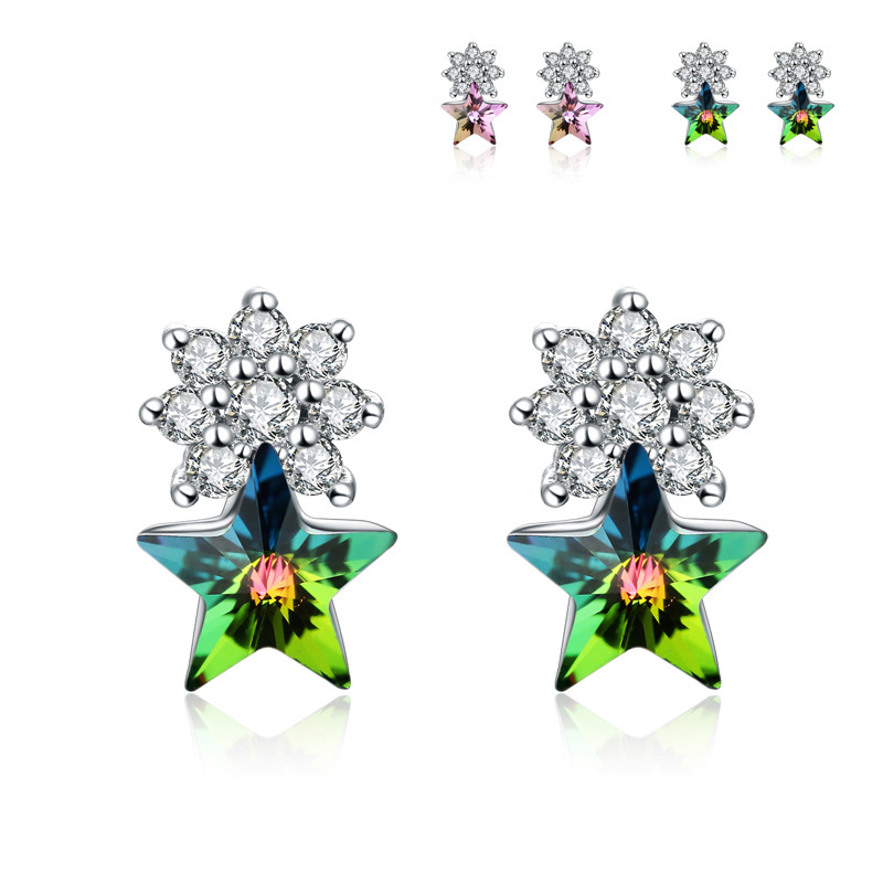 Fashion Five-pointed Star Diamond-studded Crystal Stud Earrings 925 Sterling Silver for Women B447