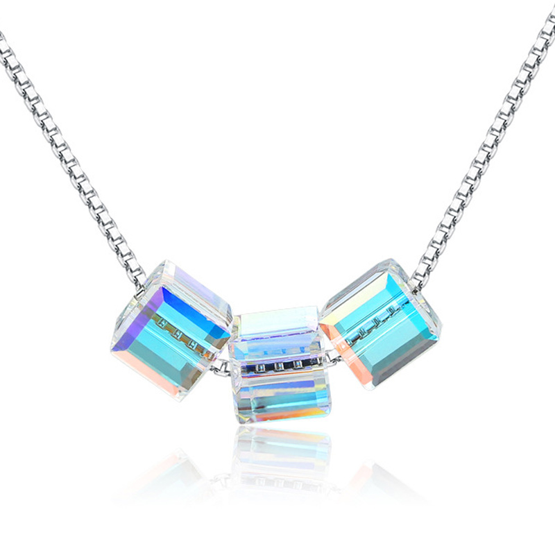 Box Crystal Pendant 925 Sterling Silver Fashion Necklace for Women A358