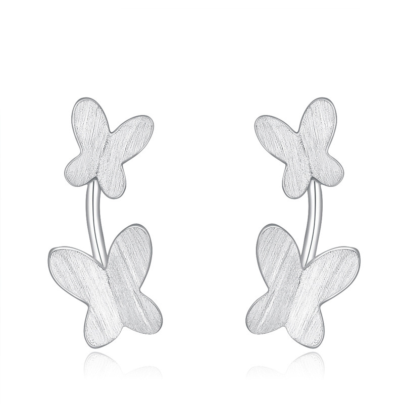 Double Butterfly Earrings925 Sterling Silver Beautiful Earrings for Women B328