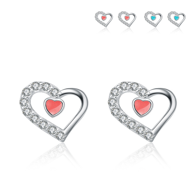 Heart Earrrings 925 Sterling Silver Fresh Eartings for Women B289