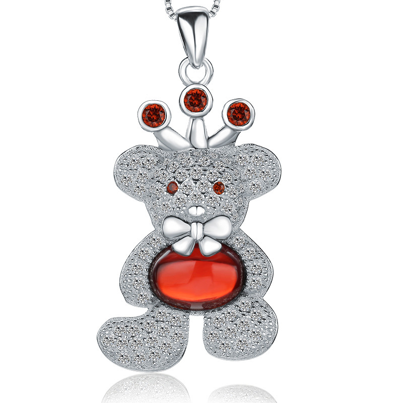 Bear Pendant 925 Sterling Silver Cute Necklace for Women W146