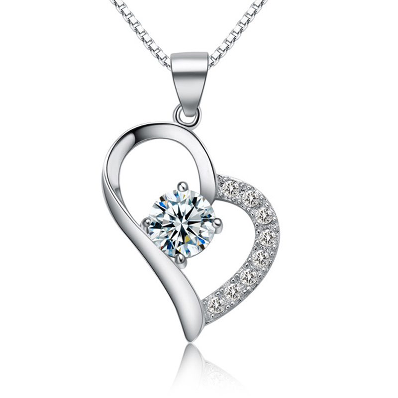 Fashion Heart Pendant 925 Sterling Silver Geometry Necklace for Women A050