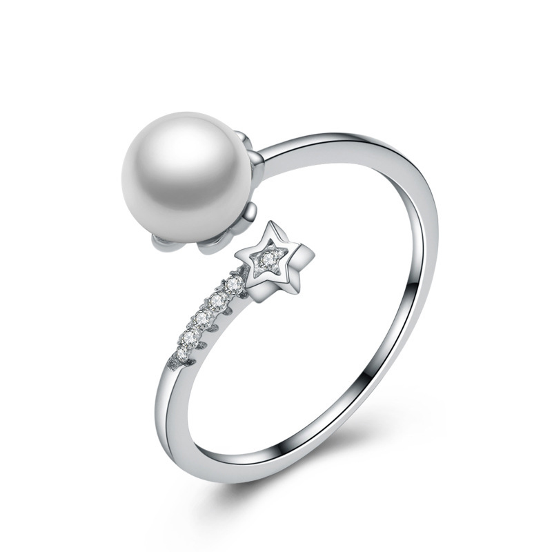 Pearl Ring 925 Sterling Silver Fashion Adjustable Ring for Women E247