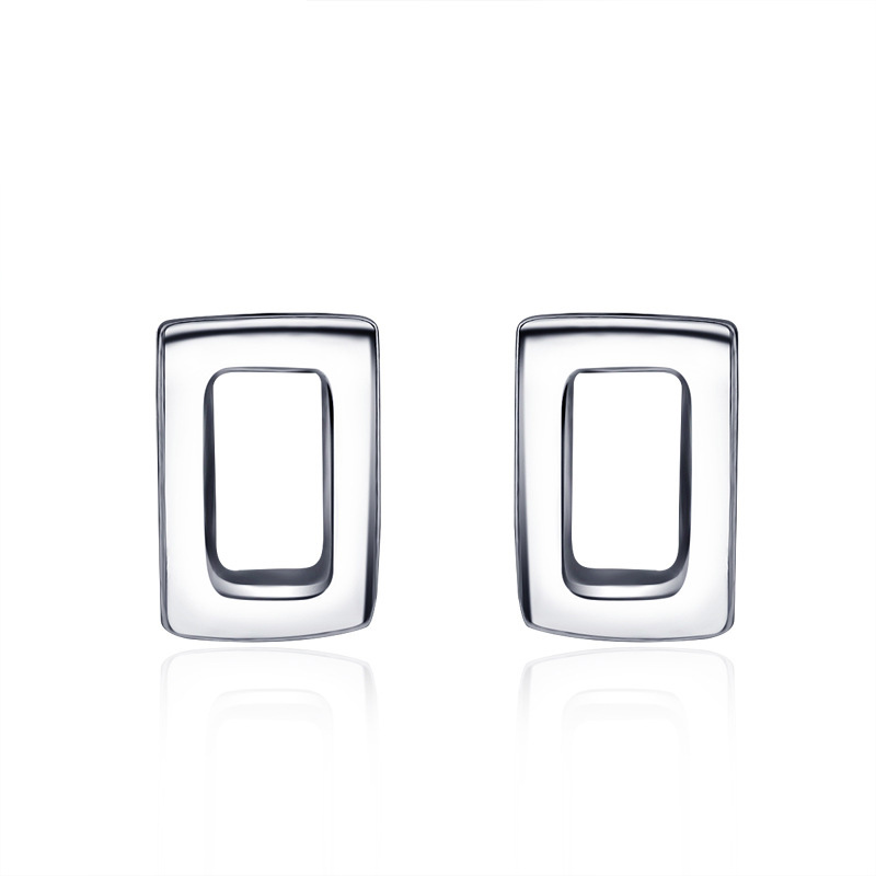 Square Hollow Earrings 925 Sterling Silver Creative Earrings for Women B058