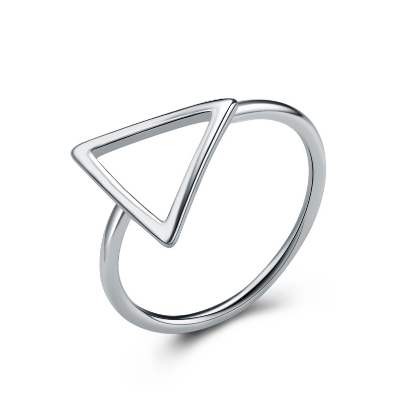 Creative Triangle Ring 925 Sterling Silver Fashion Ring for Women E407