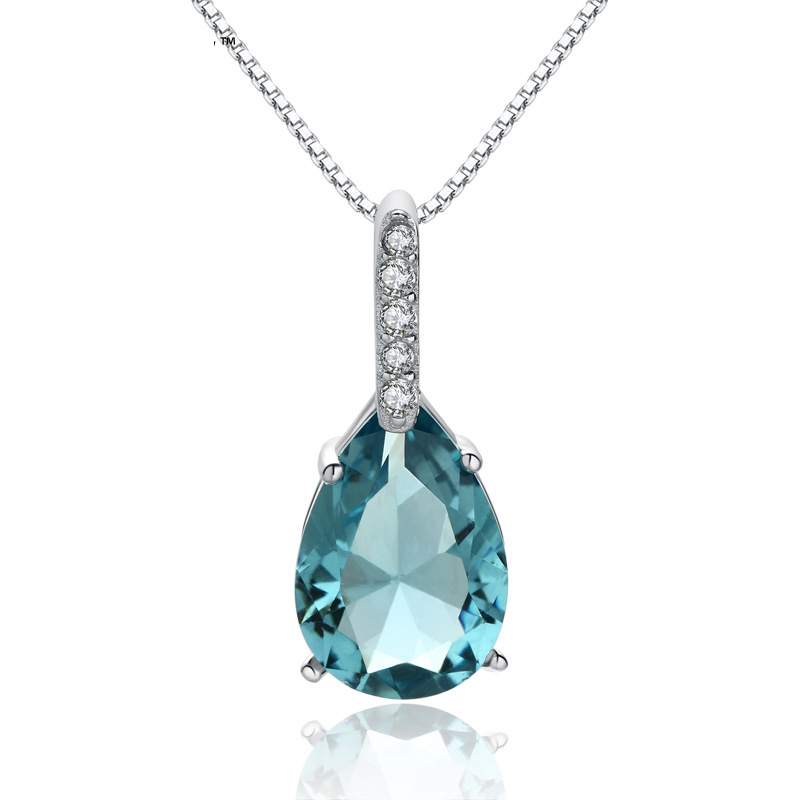 Crystal Pendant 925 Sterling Silver Beautiful Necklace for Women A041