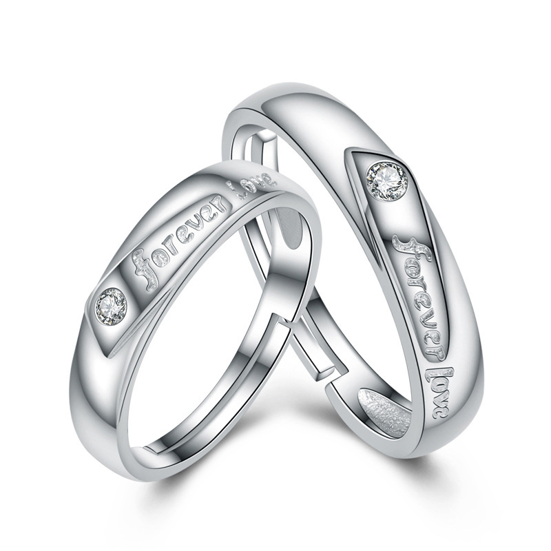 Simple Forever Love Ring 925 Sterling Silver Adjustable Ring for Couple I31