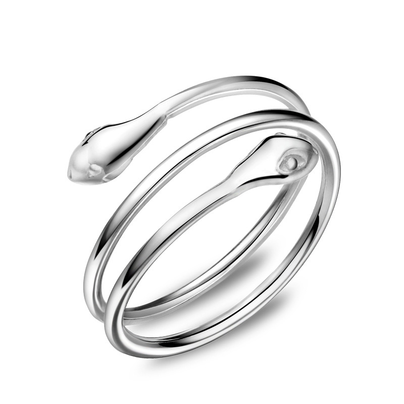 Creative Snake Ring 925 Sterling Silver Adjustable Ring for Women E230