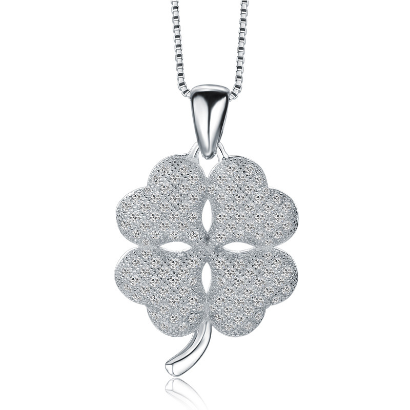 Simple Clover Pendant 925 Sterling Silver Fashion Necklace for Women W064