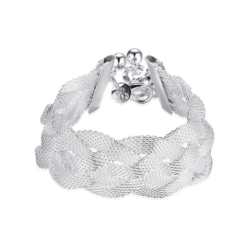 Popular Jewelry Mesh Weaving Bracelet Silver Bracelet for Women H253