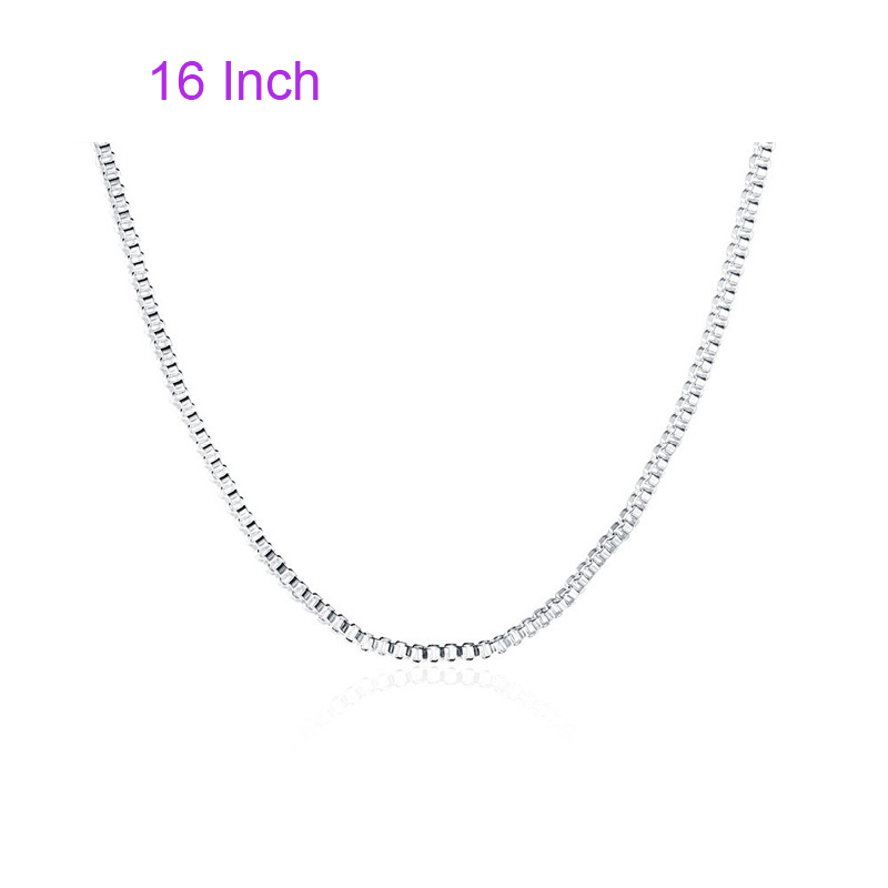 Simple Box Necklace 925 Sterling Silver Fashion Pendant for Women C007