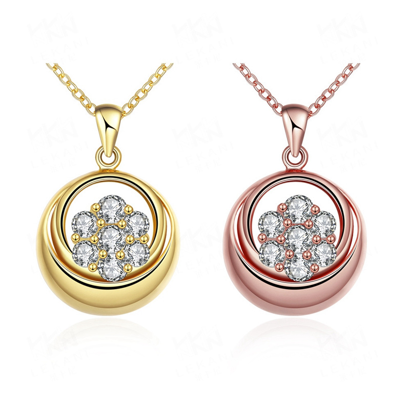 Fashion Jewelry Necklace Gold plated Crystal Inlaid Pendants for Women KZCN122